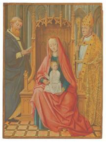 Tronende Maria en kind met de Heilige Antonius Abbas en een heilige bisschop