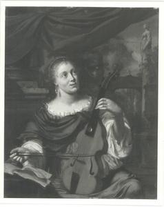Diskant viola da gamba spelende vrouw