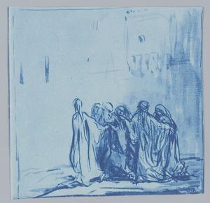 Lot en zijn gezin door de engel uit Sodom gevoerd (Genesis 19:15-16)