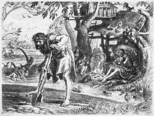 Adam en Eva met Kaïn en Abel tijdens de dagelijkse beslommeringen  (Genesis 4:1-2)