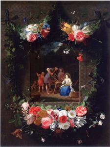Bloemenkrans rond een voorstelling van de Heilige familie in een timmermanswerkplaats
