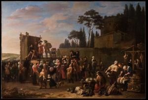 Markt met toeschouwers bij een podium