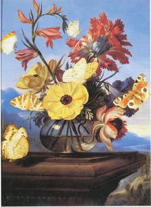 Vaas met bloemen en vlinders