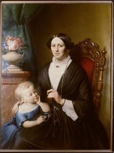 Portret van Johanna Henriette Stork (1824-1870) en haar dochtertje Anna van Wulfften Palthe (1852-1926)