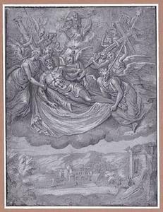 Christus door engelen ten hemel gedragen,