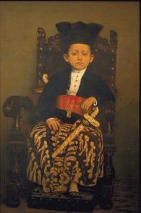 Portret van kroonprins van Solo, Puku Buwano X op zevenjarige leeftijd