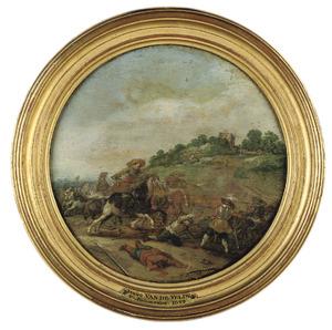 Ruitergevecht in een heuvelachtig landschap