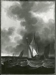 Zeilboten op een stormachtige zee