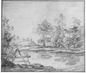 Landschap met bomen en hek
