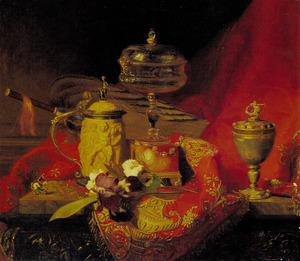 Stilleven met een iris en urnen op een rood tapijt