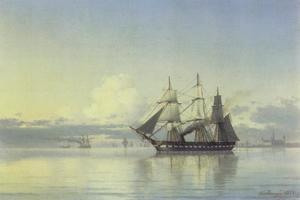 Fregat en andere schepen voor de Deense kust nabij slot Kronborg