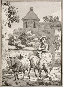 Herder met vier schapen bij een stenen poort
