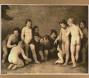 Een groep van tien knikkerende jongetjes