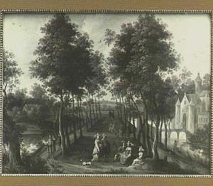 Landschap met gezelschap in de oprijlaan van een kasteel