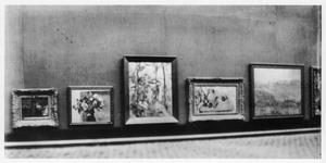Overzichtsfoto van de Cézanne-presentatie op de eerste tentoonstelling van de Moderne Kunstkring, Stedelijk Museum Amsterdam