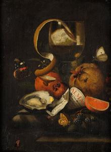 Stilleven met een roemer, fruit en een oester