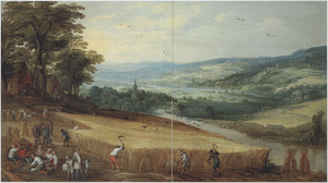Uitgestrekt heuvellandschap met rustende en koren oogstende boeren