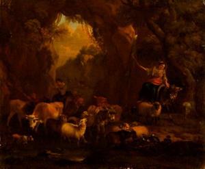 Herderinnen met een kudde