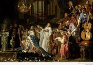 David offert  en psalmodiëert voor de Ark, terwijl het volk zich verheugt (2 Samuel 6:17)