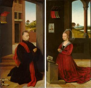 Portret van een mannelijke stichter (linkerluik); portret van een vrouwelijke stichter (rechterluik)