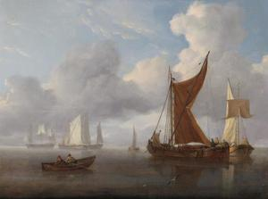 Nederlandse zeilschepen en een roeiboot in kalme zeeën