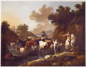 Zuidelijk landschap met herders en hun dieren bij een doorwaadbare plaats