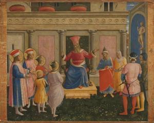 Heiligen Cosmas en Damianus met hun broers voor proconsul Lysias
