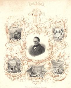 Portret van Hendrik Tollens (1780-1856) omgeven door voorstellingen uit enkele van zijn werken
