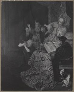 Judas brengt de dertig zilverlingen terug bij de hogepriester (Mattheüs 27:3)