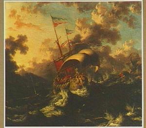 Jona wordt door de onwillige zeelui overboord gegooid, waar een grote vis hem verzwelgt (Jona 1:16-17)