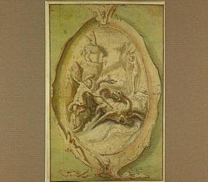 Perseus doodt de draak, op de achtergrond de geketende Andromeda en Pegasus; in een cartouche (Ovidius Metamorfosen IV: 663-789)