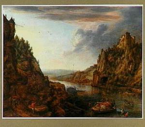 Rijnlandschap met aanlegplaats