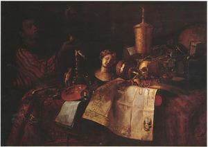 Vanitasstilleven met een jonge Moor die een horloge ophoudt