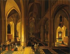 Kerkinterieur met doopplechtigheid, mogelijk de kathedraal van Antwerpen