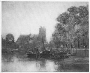 Dordrecht: zicht op Grote Kerk vanaf de haven