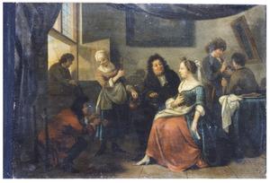 Interieur met jonge vrouw en mannelijke bezoekers