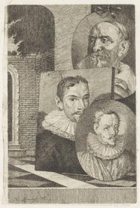 Portretten van Cornelis Jacobsz. Delff (....-1643), een man ten onrechte genaamd Cornelis Engelsz. (....-1650) en Jan Snellinck (....-1638)