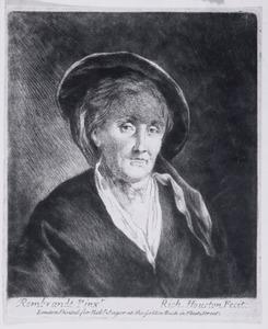 Vrouw met hoed op, ten halven lijve