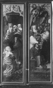 De geboorte van Maria (binnenzijde linkerluik); de dood van Maria (binnenzijde rechterluik)