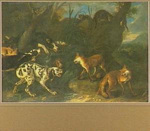 Landschap met honden, vossen en katten