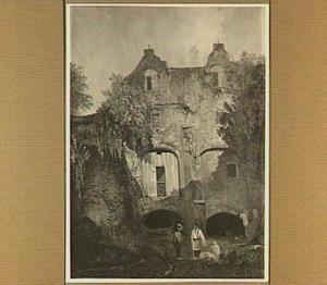 De binnenplaats van bastion Sterrenburg te Utrecht met het woonhuis boven de geschutskelders