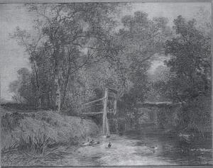 Boslandschap met eenden bij een sluis bij Vorden