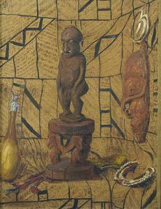 Stilleven met etnografische voorwerpen uit het Sepikgebied, Nieuw-Guinea