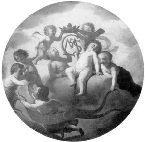 Putto met monogram van Kroonprins Christian en zijn vrouw Prinses Magdalena Sibylla