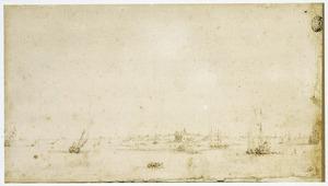 Zeilboten voor de kust van een Hollandse stad
