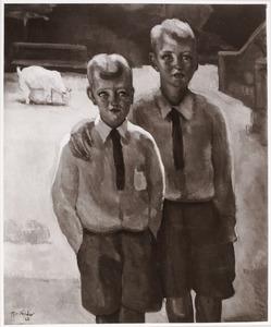 Portret van Clifford Luppo Rijkens (1918-?) en John Paul Rijkens (1920-?)