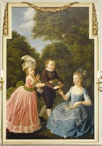 Groepsportret van drie kinderen van Cornelis Groeninx van Zoelen (1740-1791)