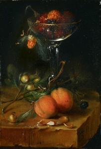 Vruchtenstilleven met een glas rood fruit