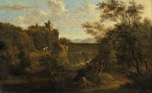 Heuvellandschap met een waterval, een ruïne van een burcht en ruiter