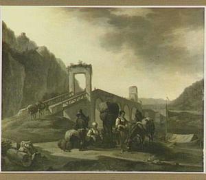 Zuidelijk landschap met rustende landlieden en hun muildieren bij een stenen brug